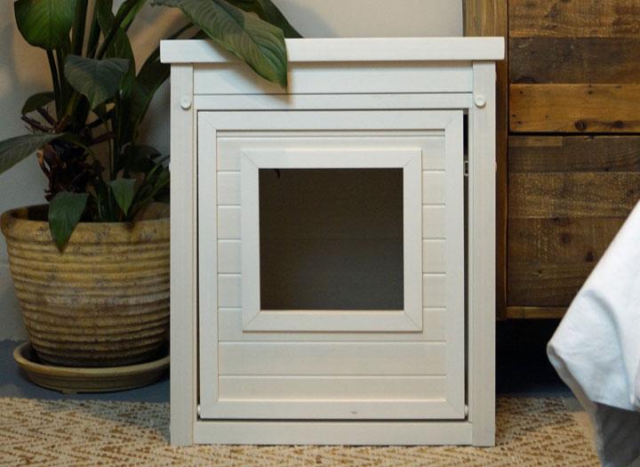 Cat Litter Box End Table – Antique White