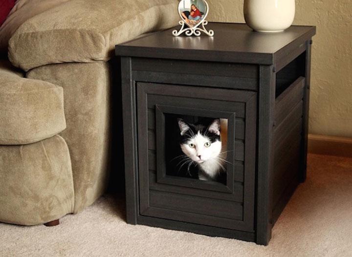 Propet Distributors Cat Litter Box End Table Espresso Laquo